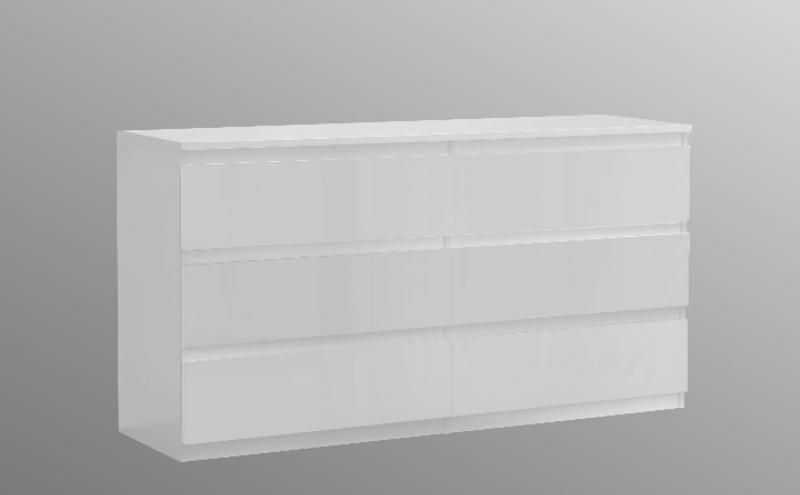 Lucia High White Gloss Wide Chest Of Drawers Chlk26 C87